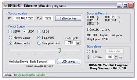 brsmnc - ethernet yönetim programı arayüzü