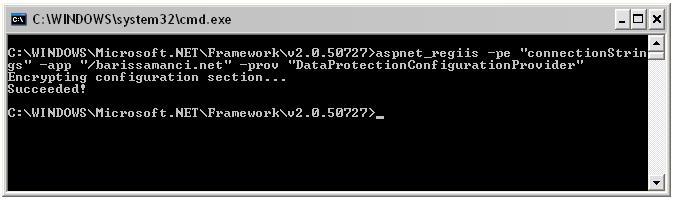 web.config sifreleme